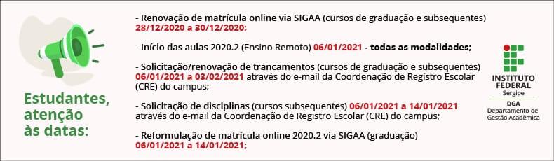 Datas Calendário Ensino Remoto DGA