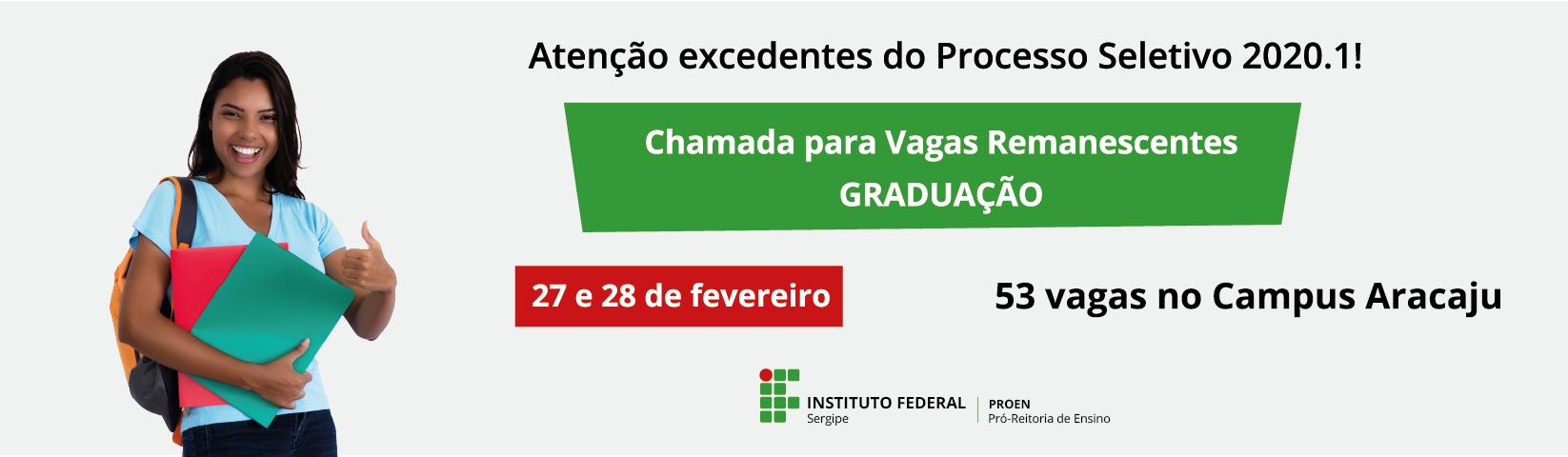 IFS realiza chamada pública para preenchimento de 130 vagas nos cursos de graduação